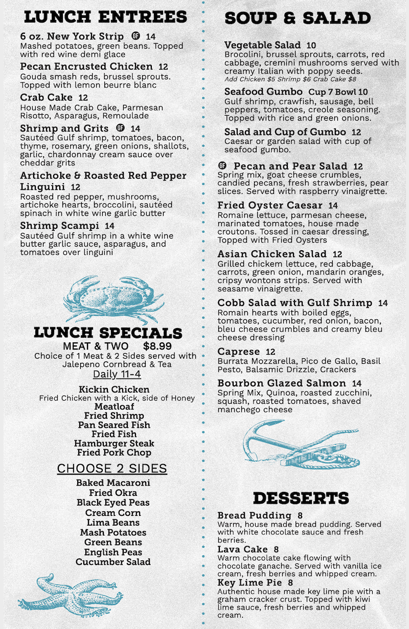 Ginny Lane Lunch Menu